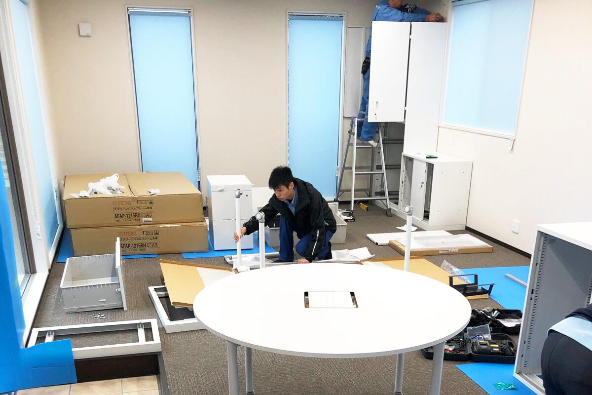 N社様本社事務所 家具納入、ロールスクリーン工事